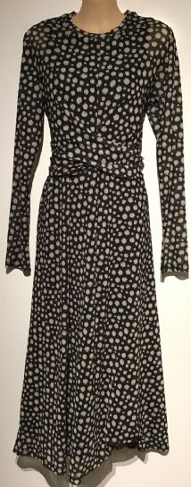 H&M MAMA GREY/TAUPE SPOTTY MATERNITY/NURSING MIDI DRESS SIZE M 12